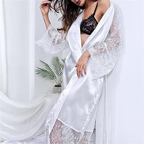 Bata Mujer Floral Albornoz Kimono Bata Seda Larga Boda Novia Dama De Honor-white-2-M