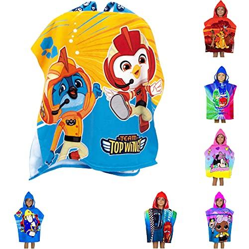 Poncho de baño para niños con capucha, 55 x 110 cm, varios diseños – Rey León, PJ Masks, Minnie Mouse, Cars, LOL Surprise, Top Wings, Sam Badepponcho Albornoz Unisex (Top Wings)