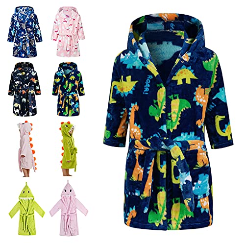 Lodunsyr Albornoces Niña Niño Pijamas y Batas Infantil Textiles de Baño Muchacha Albornoz con Capucha Batas Regalos Suave Ropa de Dormir Azul Dinosaurio 2-9 Años