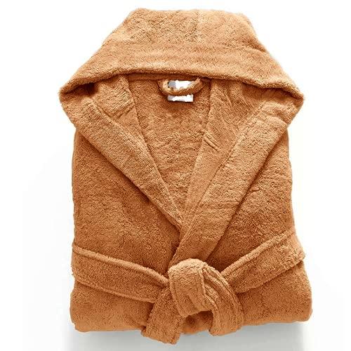 Albornoz de lujo 100% algodón egipcio unisex con capucha y toalla de rizo súper suave para dormir, marrón claro, S