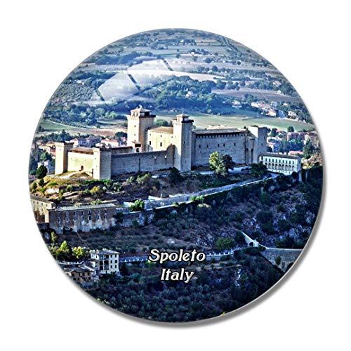 Imán de nevera 3D con texto en inglés 'Italy Spoleto', de la fortaleza de Albornoz