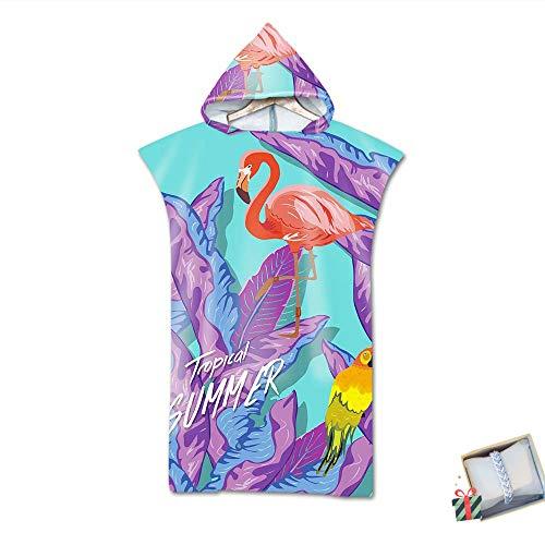 Morbuy Poncho Toalla con Capucha Adulto Natación Playa Surf Albornoz para Cambiarse de Ropa Toalla de Microfibra Albornoces Nadar Playa Baño Verano (75 * 110cm,Flamenco)