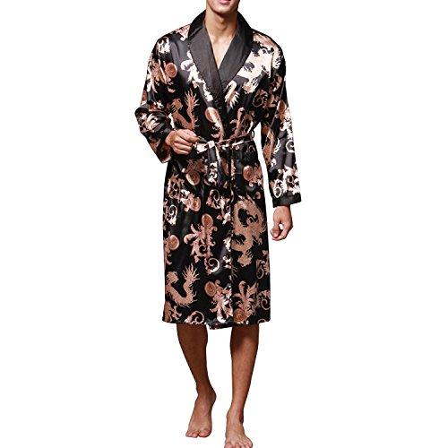 Sidiou Group Kimono Bata Hombre Batas y Kimonos Manga Larga Bata de Satén Camisón Saten Bata Albornoz (Negro, S)