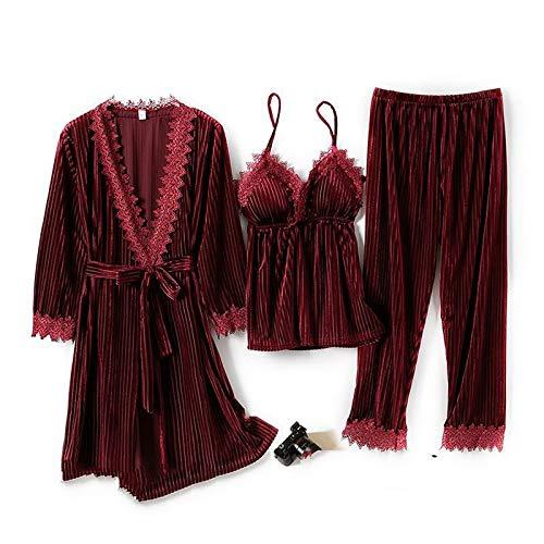 Hddwzh Albornoz Suave,3Pcs Pijamas Traje Mujeres Velour Ropa De Dormir Kimono Vestido Vino Rojo Encaje Sling Pijama Otoño Albornoz Suave Terciopelo Pijamas Ropa De Casa, XXL