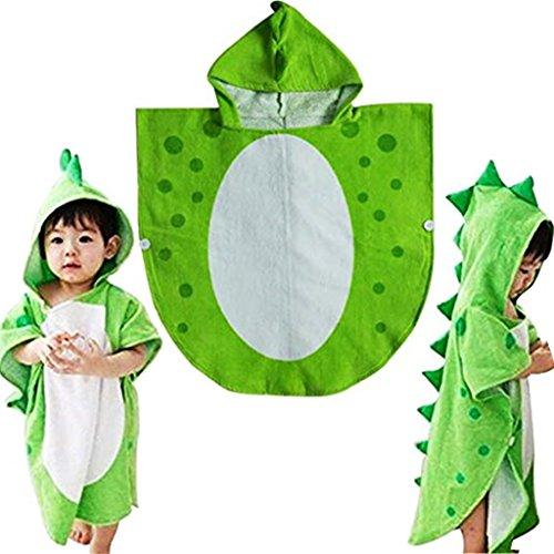 Albornoz toalla de baño para niños, con capucha y diseño de dinosaurio, Verde, 55cm*110cm