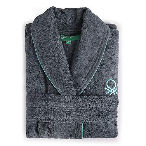 UNITED COLORS OF BENETTON. Albornoz l/XL 360gsm 100% algodón Gris Oscuro Casa Benetton