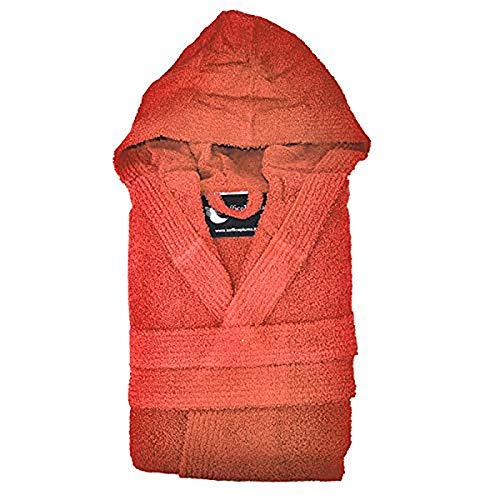 Suave albornoz Art. Bragas varios colores 100 % rizo de puro algodón con capucha y 2 bolsillos laterales de esponja muy suave Producto exclusivo para el relleno de plumón, CORAL, XL
