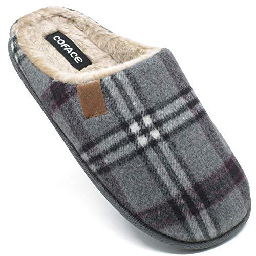 COFACE Zapatillas de Estar en Casa Hombre Tartán Invierno Cálido Forro de Felpa Pantuflas Alta Densidad Espuma de Memoria Zapatos con Antideslizante Suela Tallas 44