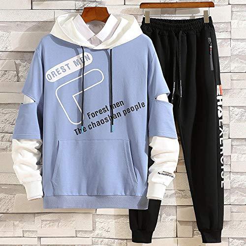 whmckl Otoño nuevos Hombres Camiseta de Manga Larga suéter Traje de Moda Traje Deportivo Casual Todo fósforo-Traje Y01 Celeste_Código S [70 kg-90 kg]
