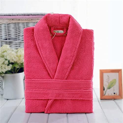 Toalla de algodón, Bata de Felpa, Amantes Unisex, Bata de baño Suave para Hombres y Mujeres, Ropa de Dormir para Hombre, Albornoz Informal para el hogar-Rose red-1-L