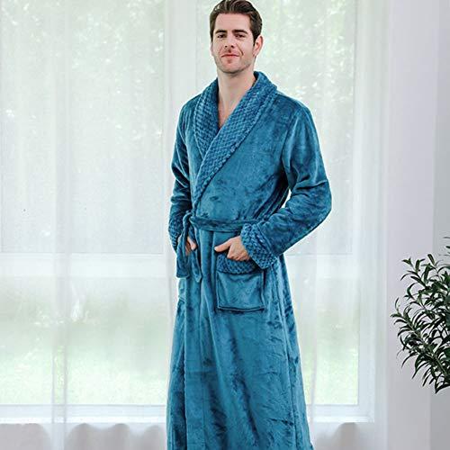 Lulalula - Albornoz para hombre, de franela supersuave, con capucha, longitud completa, toalla de baño, pijama de invierno cálido azul azul M
