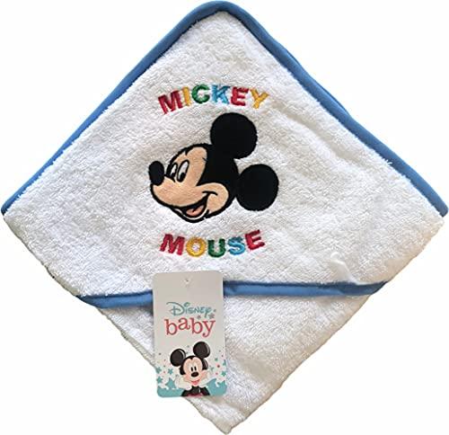 Albornoz para bebé de Disney Baby | Precioso albornoz triangular con Mickey y Minnie Mouse | 100% algodón – disponible para niños y niñas de 3 a 36 meses, azul celeste, 3 mes