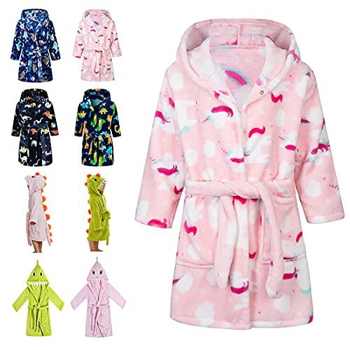 Lodunsyr Albornoces Niña Niño Pijamas y Batas Infantil Textiles de Baño Muchacha Albornoz con Capucha Batas Regalos Suave Ropa de Dormir 2-9 Años
