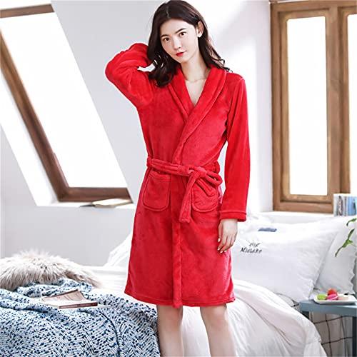 Bata de baño de Franela roja Rosa para Mujer, Ropa de Dormir, Otoño Invierno, Albornoz de Pareja de Felpa sólida, Bata Gruesa y cálida para Mujer-PJ306Color3-One Size