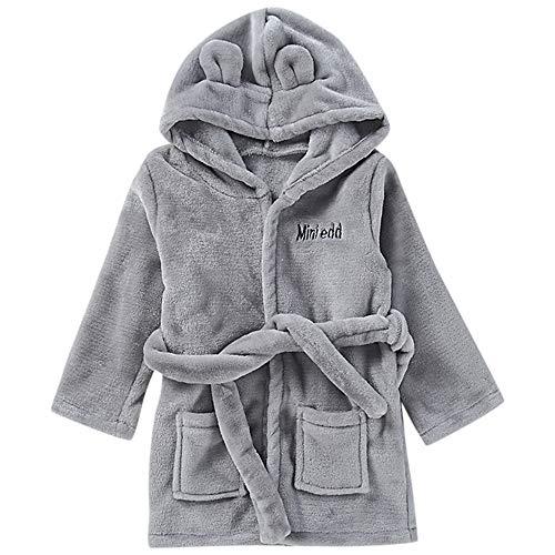 H.eternal Albornoz de invierno con capucha, toalla de baño suave, bata de forro polar, para niños (12-18 meses, gris)