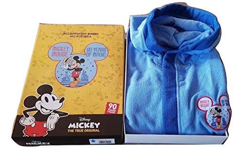 Hermet - Albornoz para niño de Mickey Mouse, de microfibra, color celeste, tallas 3/4-5/6-7/8 años (7/8 años)
