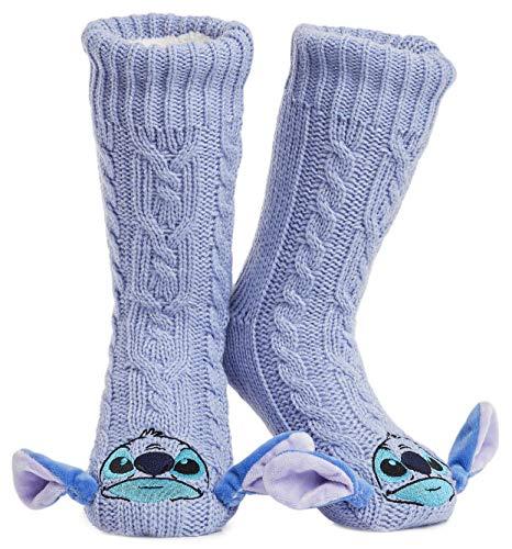 Disney Calcetines Antideslizantes Invierno Mujer Con Personajes Disney, Zapatillas de Punto Interior Forro Polar Para Estar Por Casa, Regalos Mujer(Morado)