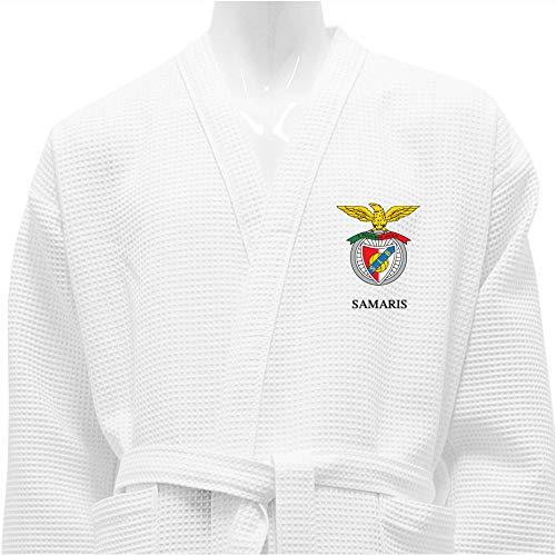 BgEurope SL Benfica Albornoz DE BAÑO Waffle Blanco Personalizado Benfica (Size XL, Logo + Nombre)