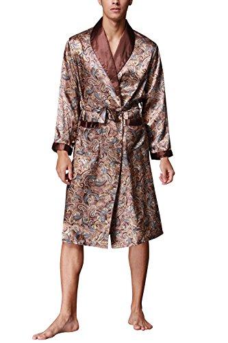 Dolamen Albornoz para Hombre Vestido Kimono Satén, Suave y Ligero Satén Camisón, Lujo Robe Albornoz Ropa de Dormir Pijama con Cinturón y Bolsillos (X-Large, Marrón)