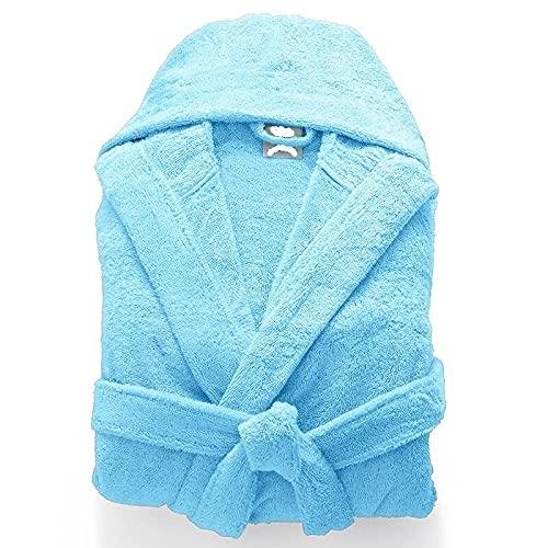 Albornoz de lujo 100% algodón egipcio unisex con capucha y toalla de rizo súper suave para dormir, azul celeste, S