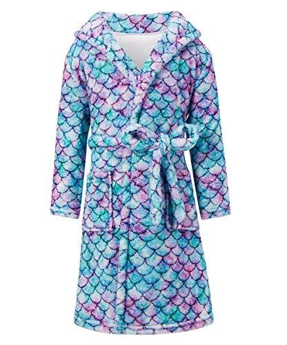 Funnycokid Bata de baño para niñas, con capucha, pijamas, camisón de franela de manga larga, impresión gráfica, ropa de dormir de 5 a 12 años