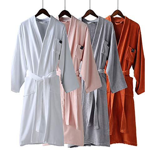XUMING para Hombre de Las señoras de Albornoz Bata Bata de baño de Rizo 100% Vestidos Batas Toalla de algodón Mujer de los Hombres,Naranja,S