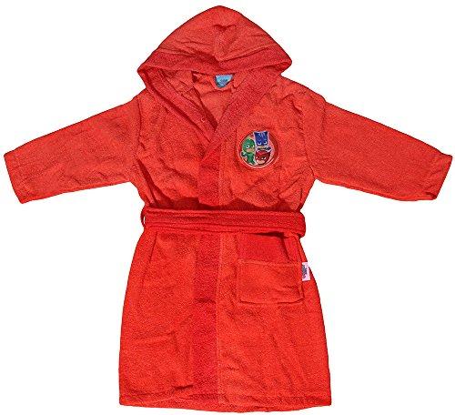 Albornoz con capucha Original de PJ Masks, para 2,3,4,5,6 y7años, 100 % Microrrizo de algodón puro, para niño y niña ANNI 2/3 rojo