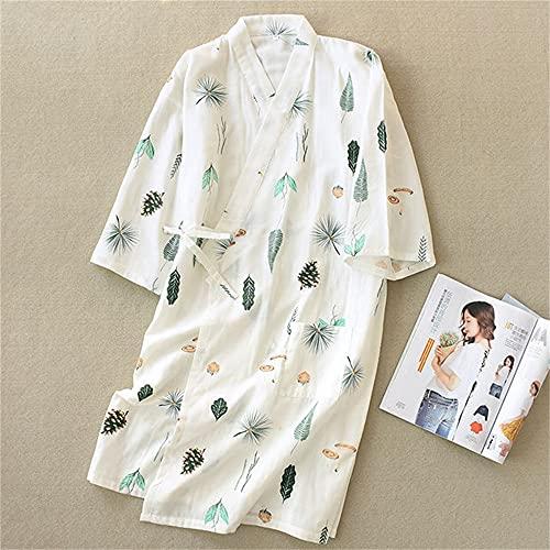 Albornoz de algodón Puro dePrimaveraVerano para Mujer, Batas de Kimono Suaves y Finas de Gasa, Batas de Dormir para Mujer, Ropa de Sudor Suelta para SPA-Baise leaves-2-M