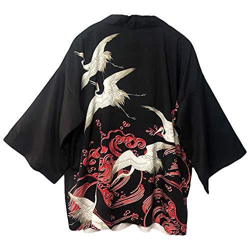 G-like Kimonos japoneses para mujer - Disfraz tradicional de Haori Robe Tokio Harajuku, diseño de dragón, chaqueta, camisa de noche, albornoz, ropa de dormir, rojo, Talla única