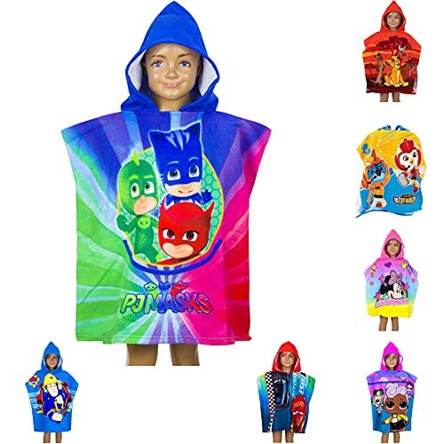 Poncho de baño para niños con capucha, 55 x 110 cm, varios diseños – Rey León, PJ Masks, Batman, Minnie Mouse, Cars, LOL Surprise, Top Wings, Sam Badepponcho, toalla de baño Poncho (PJ Masks)