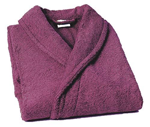 Lasa Pure Albornoz con Cuello Tipo Smoking, algodón 100%, Ciruela, S