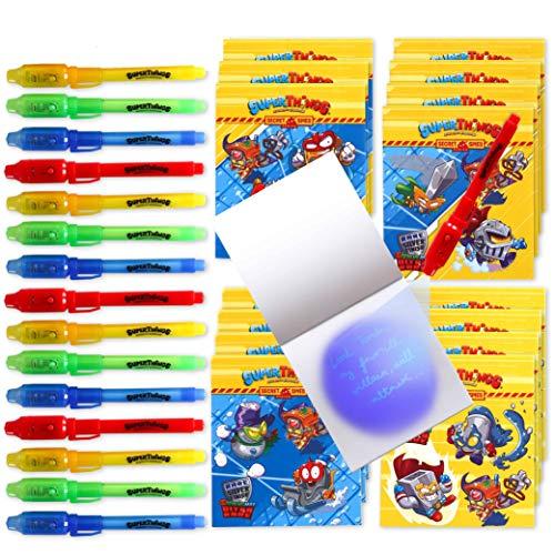BONNYCO SuperThings Secret Spies - Detalles Cumpleaños Niños, Boligrafo Tinta Invisible y Libreta Pack x 16 | Regalos Cumpleaños Niños Colegio, Detalles Cumpleaños Infantiles, Relleno Piñata