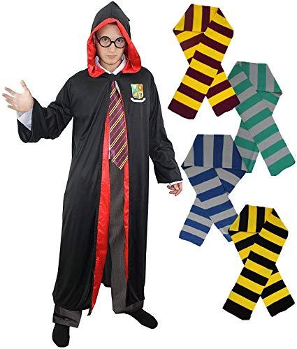 I LOVE FANCY DRESS LTD Albornoz para adultos con insignia escolar y forro rojo + albornoz y bufanda a rayas doradas perfecta para la semana de libro. En tamaños: mediano