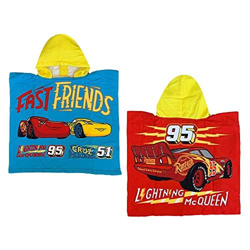 GLOBAL LICENCE SRL Poncho de playa Cars Rayo McQueen Disney toalla albornoz de microfibra 110 x 55 cm 100% PL- CAR1582