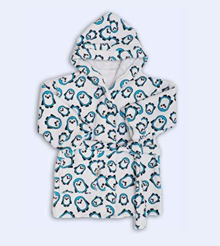 Ti-Tin Albornoz infantil con Estampado de PINGÜINOS en color celeste   Talla 5-6 años   Fabricado en rizo de toalla 100% algodón