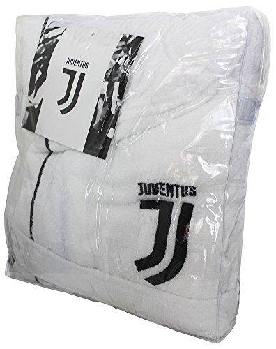 FC Juventus Logo 2017/18- albornoz con capucha, producto oficial, para niños de 6, 8, 10, 12, y 14años. Negro. 100% tela de toalla de puro algodón, color blanco y negro ANNI 8 / 10