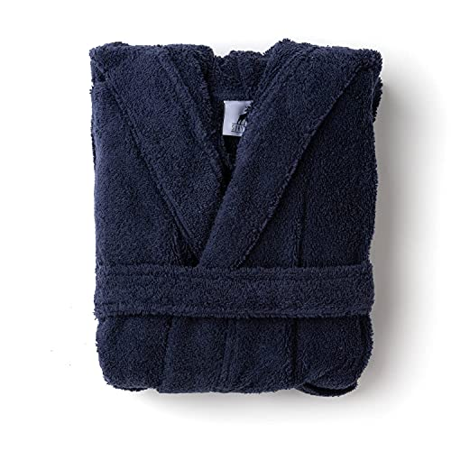 SOHYGGE - Albornoz infantil de 450 gr/m2, para niño y niña, 100 % algodón de esponja, ecológico OEKO-TEX – Albornoz infantil con capucha – salida de baño infantil, azul marino, 5-6 años