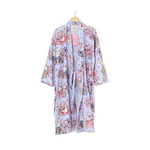 Vestido de Kimono Mujer Yukata Albornoz Pijamas Púrpura Pray Conejos