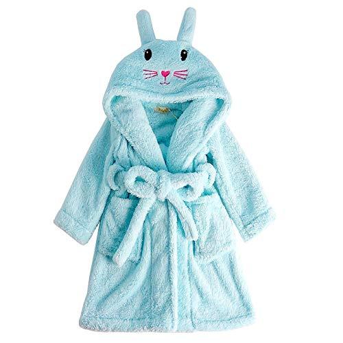 LEYUANA Albornoz para bebé con Capucha y Conejo Rosa para niños 6 Azul