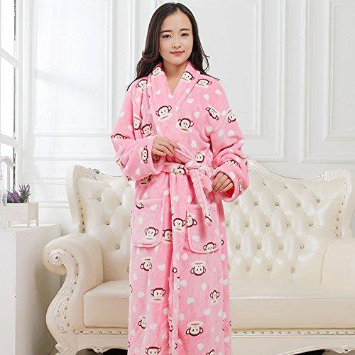 LKKL lkklily-Couple camisón de Franela Albornoz para los Hombres y Las Mujeres otoño y el Invierno Larga Acolchada Pijamas, Pijamas y Loungewear, XL