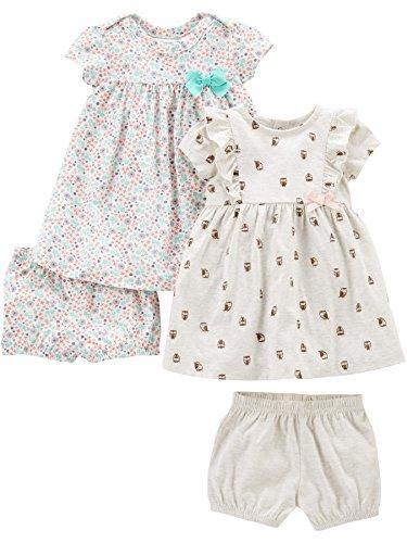 Simple Joys by Carter's Conjunto de 2 vestidos de manga corta y sin mangas para bebés y niñas ,Floral/Gray Bird ,US NB (EU 56-62)