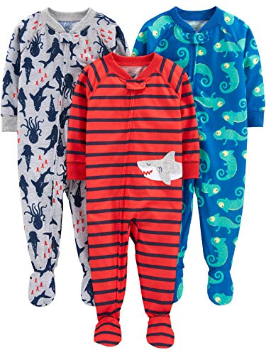 Simple Joys by Carter's pijama de poliéster suelto para bebés y niños pequeños, paquete de 3 ,Iguana/Sea Creatures/Shark ,18 Months