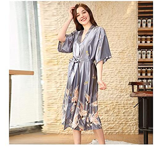 Albornoz Kimono de satén Negro de Verano para Mujer, Bata de Novia para Dama de Honor, Vestido de Boda, Vestido Sexy con Flores, Ropa de Dormir Larga M-2XL-silver-6-XXXL