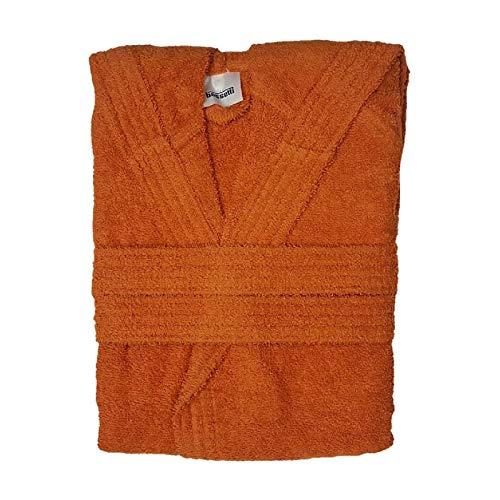 Bassetti Time - Albornoz de rizo con capucha para hombre y mujer, de 360 g/m², color naranja, talla L