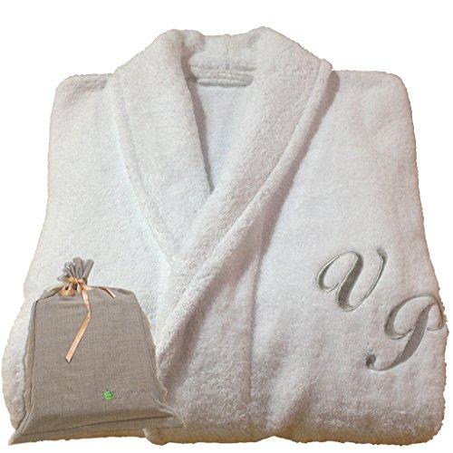 BGEUROPE Hotel Spa Edition - Albornoz personalizable con diseño de monograma blanco, 100% algodón (L)