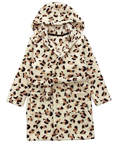 DELEY Unisex Bebé Niñas Niños con Capucha De Albornoz Suave Bata Invierno Pijamas Camisón Ropa De Dormir Leopard Tamaño 100