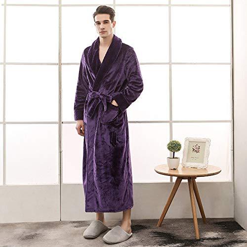 ZJMIYJ Albornoz De Hombre,Hombres Invierno Púrpura Extra Largo Grueso Rejilla Caliente Albornoz Hombres Kimono Baño Bata Mujeres Sexy Batas Térmicas, 3XL