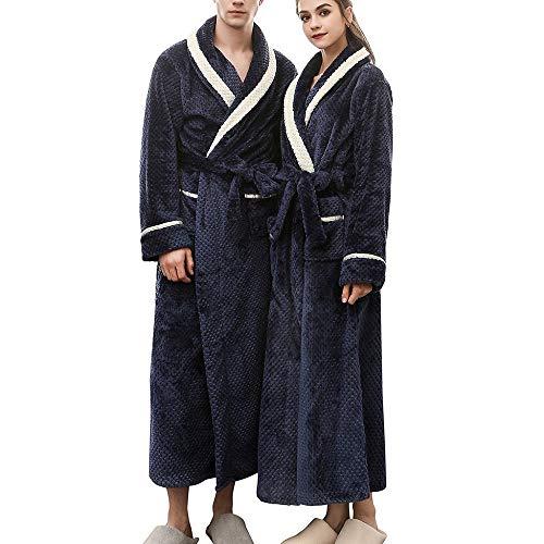 Parejas Invierno Albornoz cálido y Grueso para Hombre y Mujer Alargado Albornoz de Manga Larga Robe Abrigo Moda Casual Bata de baño Pijama 263
