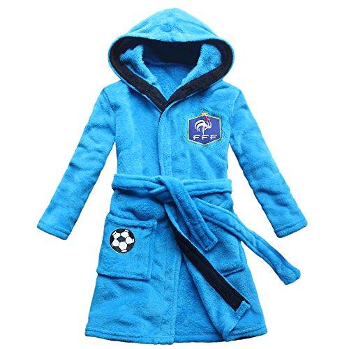 FEETOO 2018 Equipo de fútbol Bordado Boy Albornoz Robe Children's Nightgown (14, Azul)