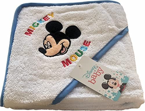 Albornoz para bebé de Disney Baby   Precioso albornoz triangular con Mickey y Minnie Mouse   100% algodón – disponible para niños y niñas de 3 a 36 meses, azul celeste, 3 mes